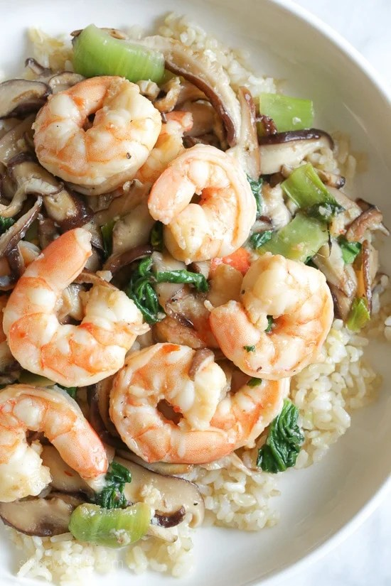 Garlicky Shrimp Stir-fry with Shiitakes and Bok Choy