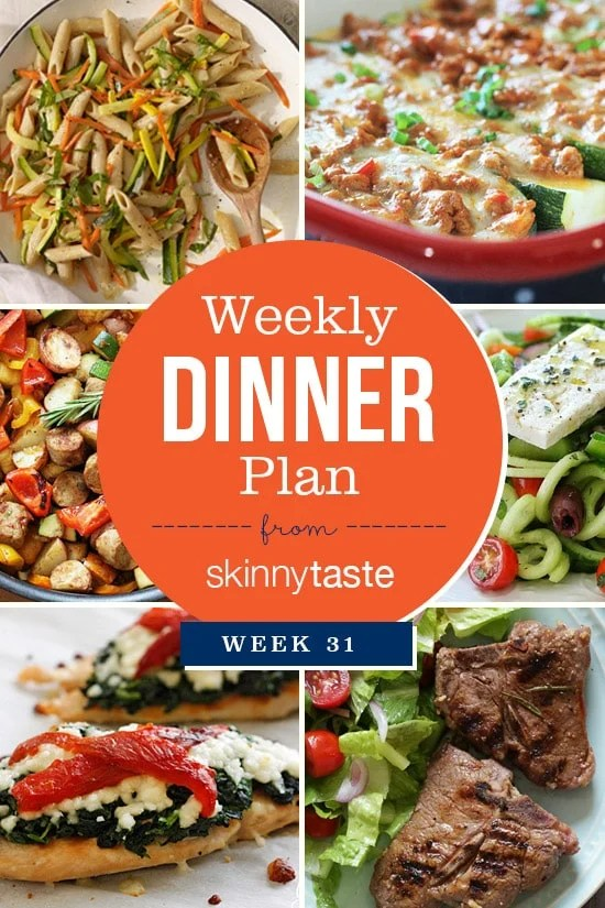 A healthy dinner plan for the week.