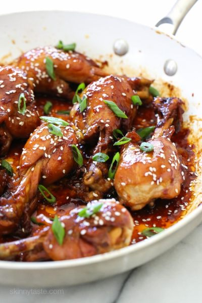 These skinless teriyaki chicken drumsticks sweet and sticky, and so delicious! Cooked in a skillet with honey, soy sauce, garlic and ginger until the chicken is tender and the sauce thickens. You won't miss the skin!