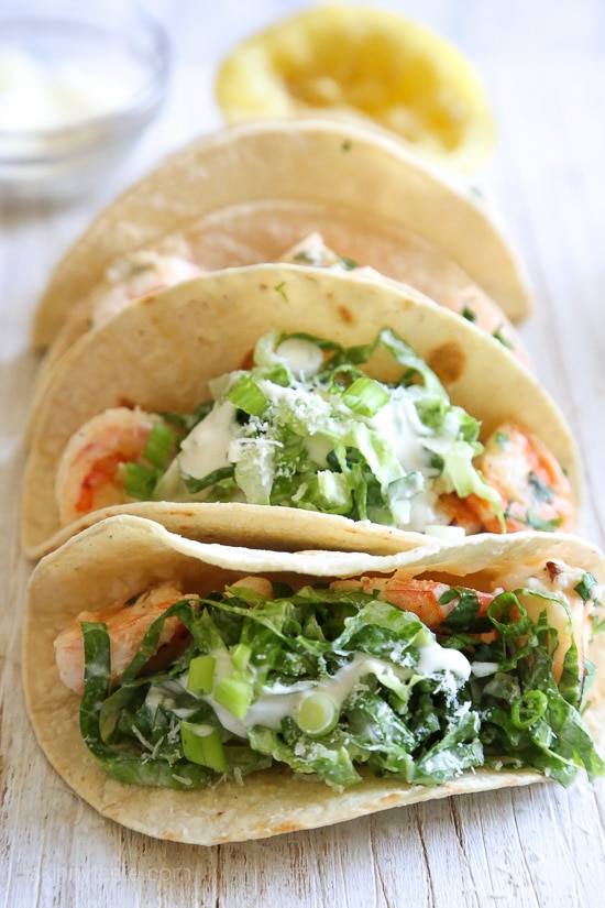 Here's a unique twist on a shrimp taco – shrimp sauteed with butter and lemon juice topped with Caesar salad slaw, so fresh and light!