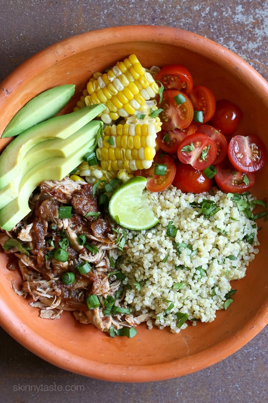 Slow Cooker Chipotle Chicken Bowls with Cilantro Lime Quinoa
