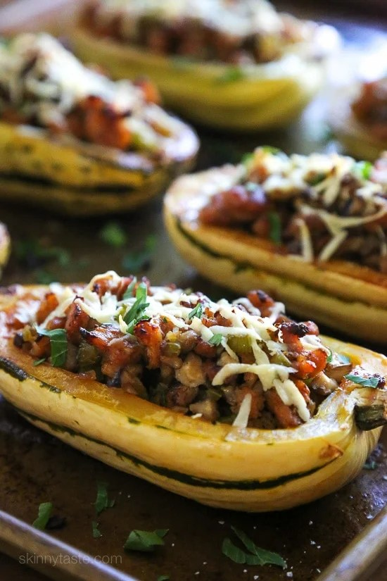 Delicata is very versatile, but one of my favorite ways to eat is stuffed with this savory sausage stuffing made with celery, onion and mushrooms – a wonderful contrast to the sweet flavor of the squash.