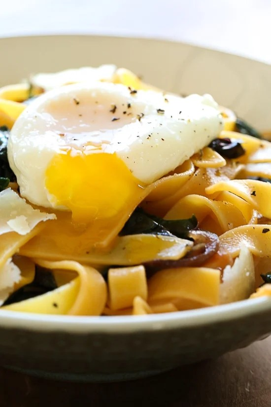 Pasta, greens and poached egg are one of my go-to, no-fuss weeknight combinations in the winter when I'm hungry and need dinner on the table quick. I always have eggs, pasta and some type of green vegetable on hand, for this I used Swiss chard, but spinach, escarole or kale would also work.
