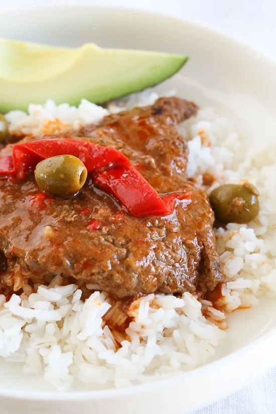 Cubed Steak with Peppers and Olives (Instant Pot, Slow Cooker and Stove-Top)