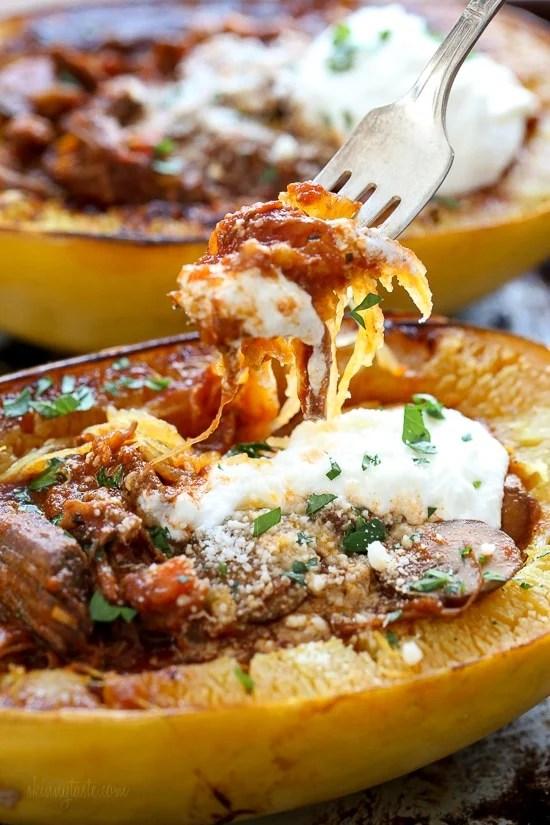 beef and mushroom ragu with spaghetti squash