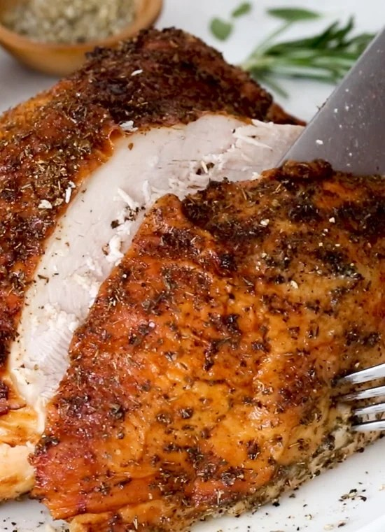 Air Fryer Turkey Breast comes out so moist and juicy and perfectly cooked with a beautiful deep golden brown skin. And bonus, it cooks in a fraction of the time it would in the oven!