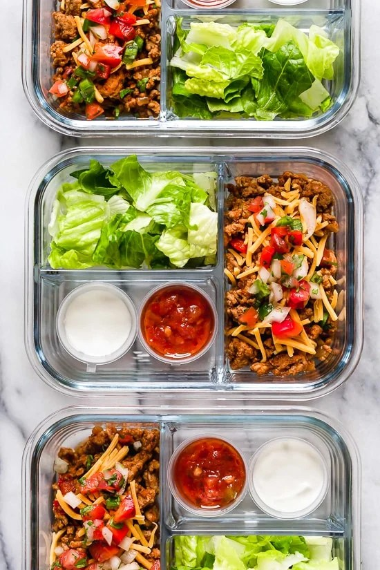 This delicious Turkey Taco Salad is perfect to meal prep, to make ahead for lunch for the week!