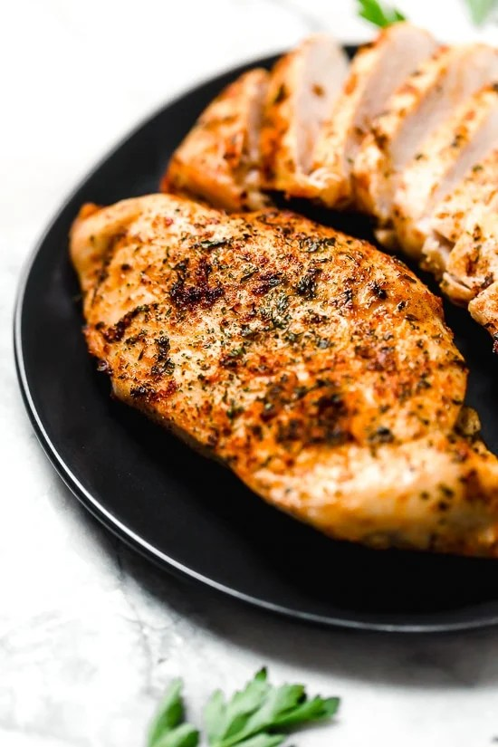 Juicy Air Fryer Boneless Chicken Breasts, no breading!