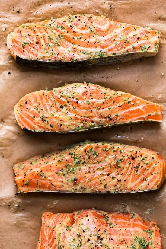 Broil wild salmon for salad.