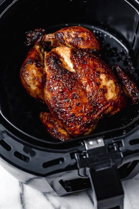 This Buttermilk-Marinated Air Fryer Whole Roasted Chicken comes out unbelievably juicy and delicious, and it's so easy to make, just 3 ingredients!