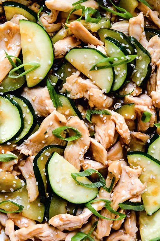 This quick Chicken and Zucchini Stir Fry is made with chicken breast, zucchini and an easy stir fry sauce.