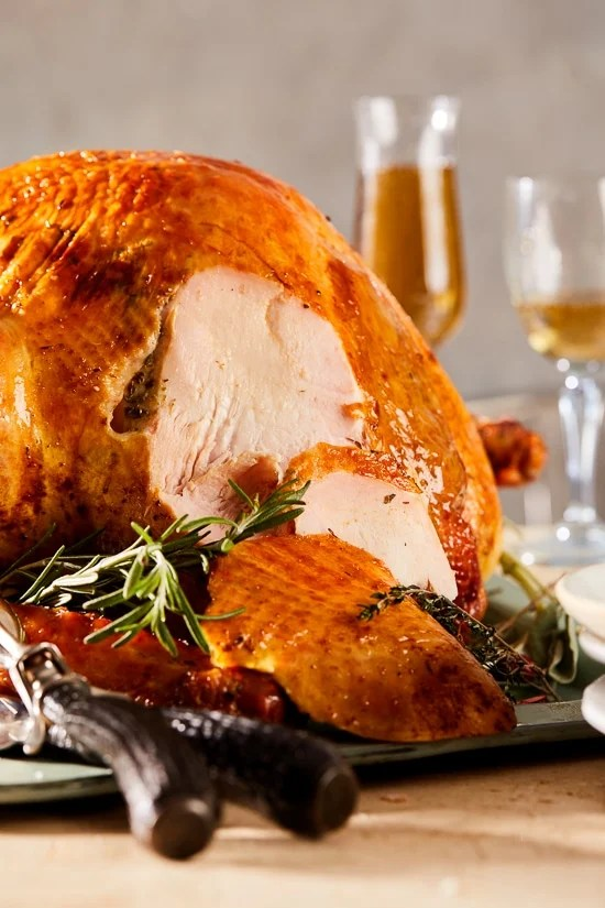 This Herb and Salt-Rubbed Dry Brined Turkey comes out so moist and flavorful, with crispy golden skin and juicy tender meat.