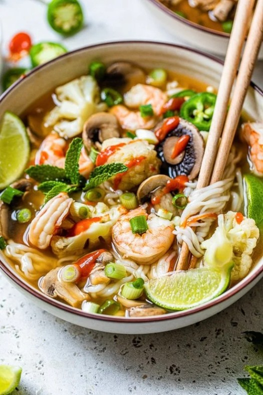 Shrimp noodle soup with chopsticks