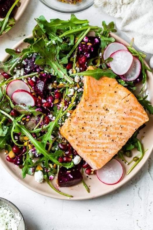 Salmon, Beet, and Arugula Salad