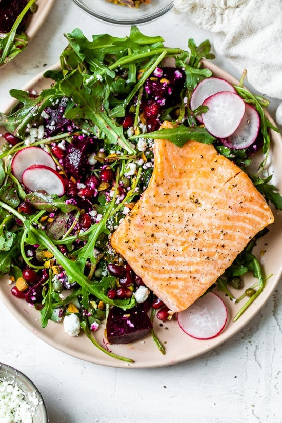 Salmon, Beet, and Arugula Salad