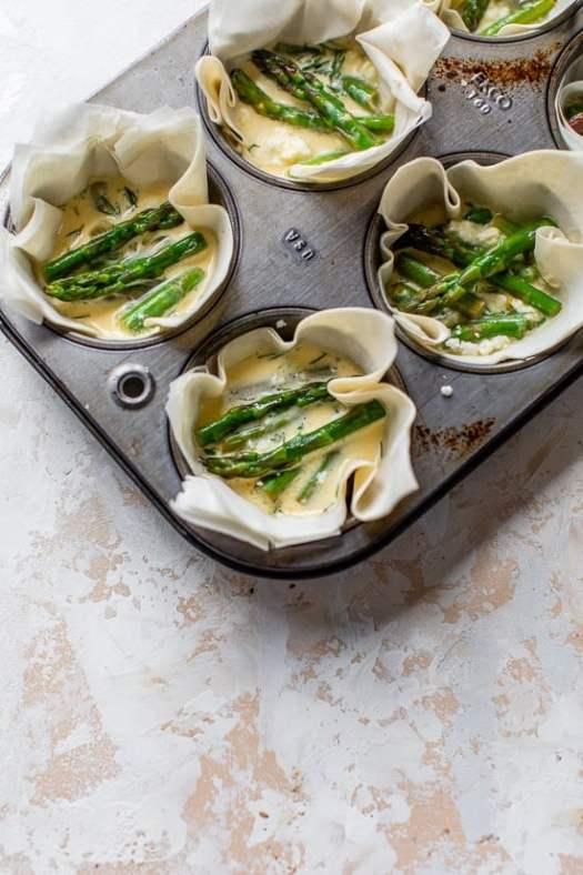 Phyllo tarts with asparagus