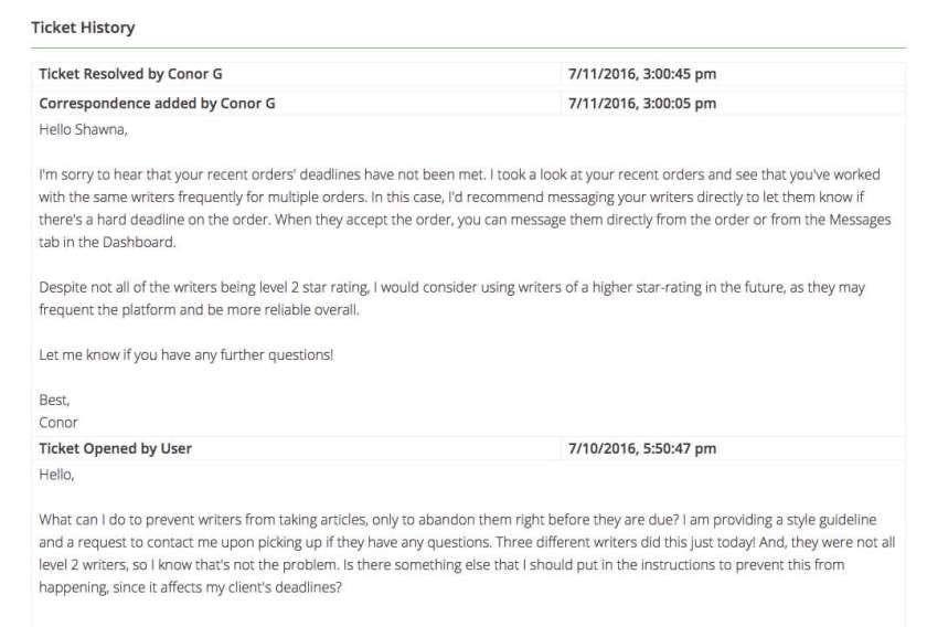 writeraccess poor customer service
