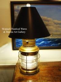 Large Vintage Brass Nautical Anchor Lantern Table Lamp ...