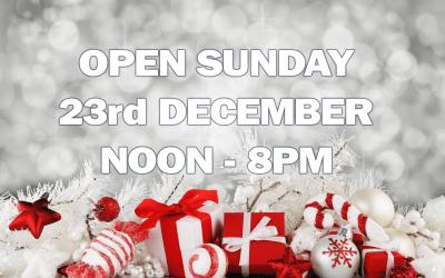 Open Sunday 23rd of December