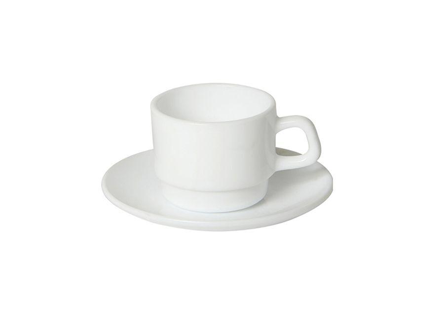 Koffiekop, schotel en lepel Basic