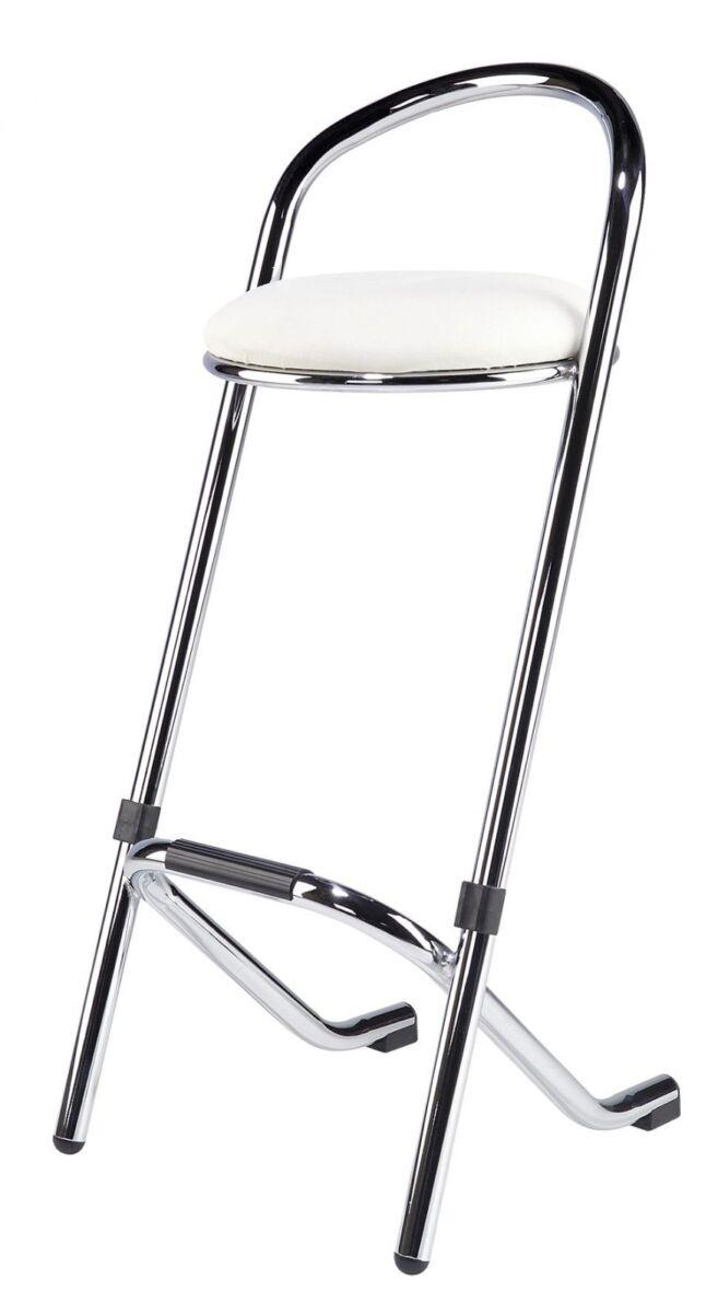 Barkruk wit, chroom frame (aanbieding)