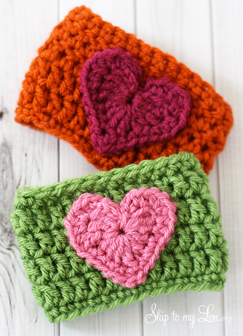 heart crochet coffee cozies