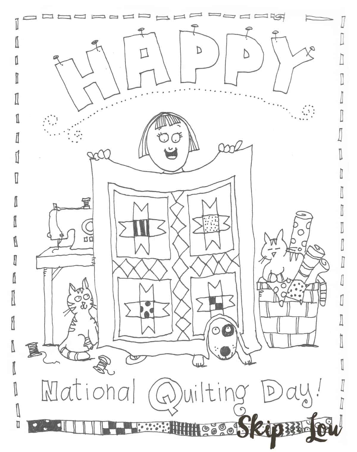 National Quilting Day Coloring Page