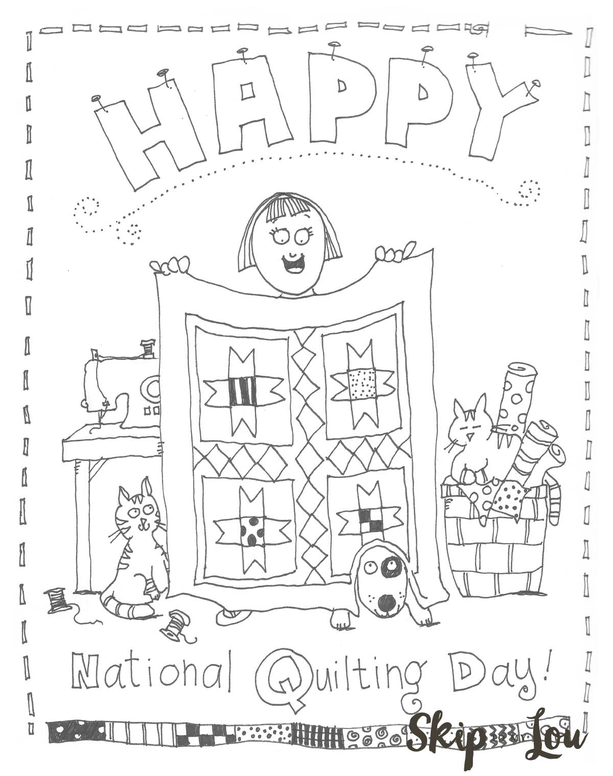 National Quilting Day Coloring Page Skip To My Lou