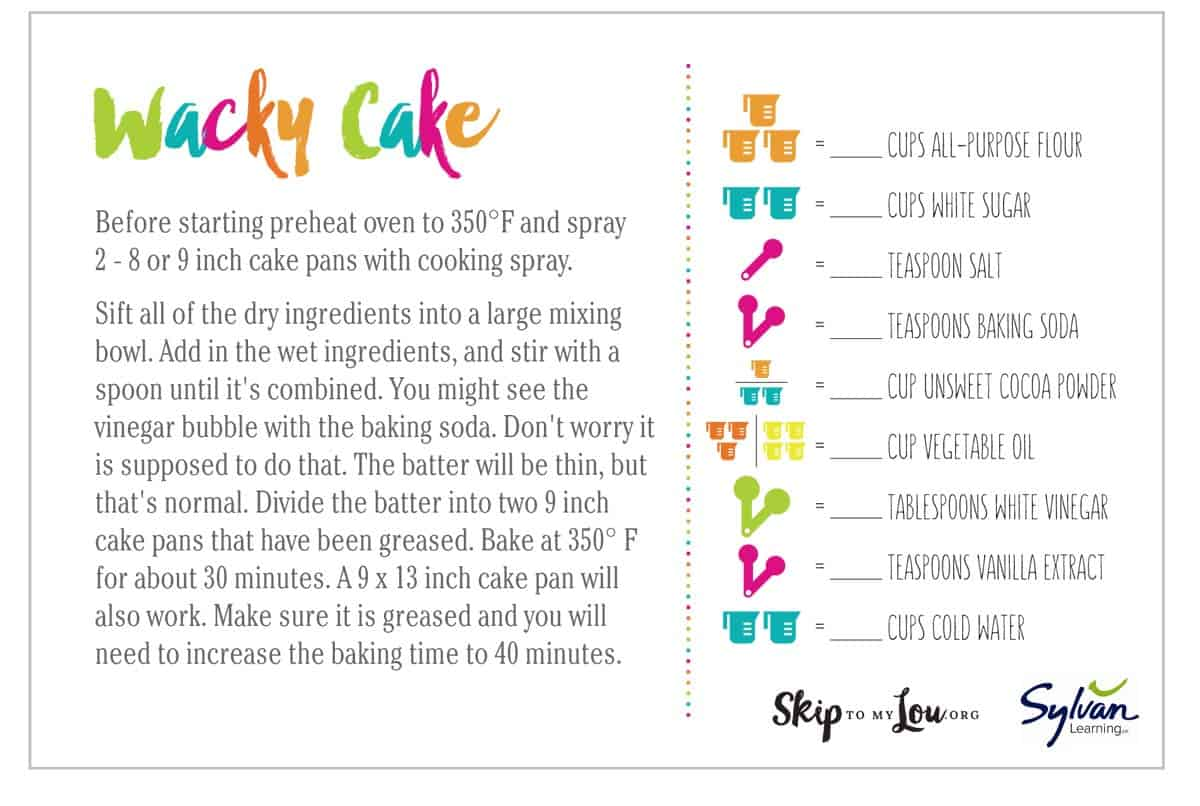 Wacky Cake Recipe Printable Math Recipe Cards