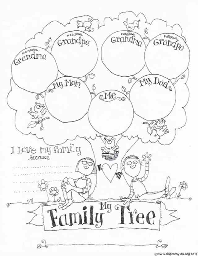 FREE Printable Family Tree Coloring Page  Skip To My Lou