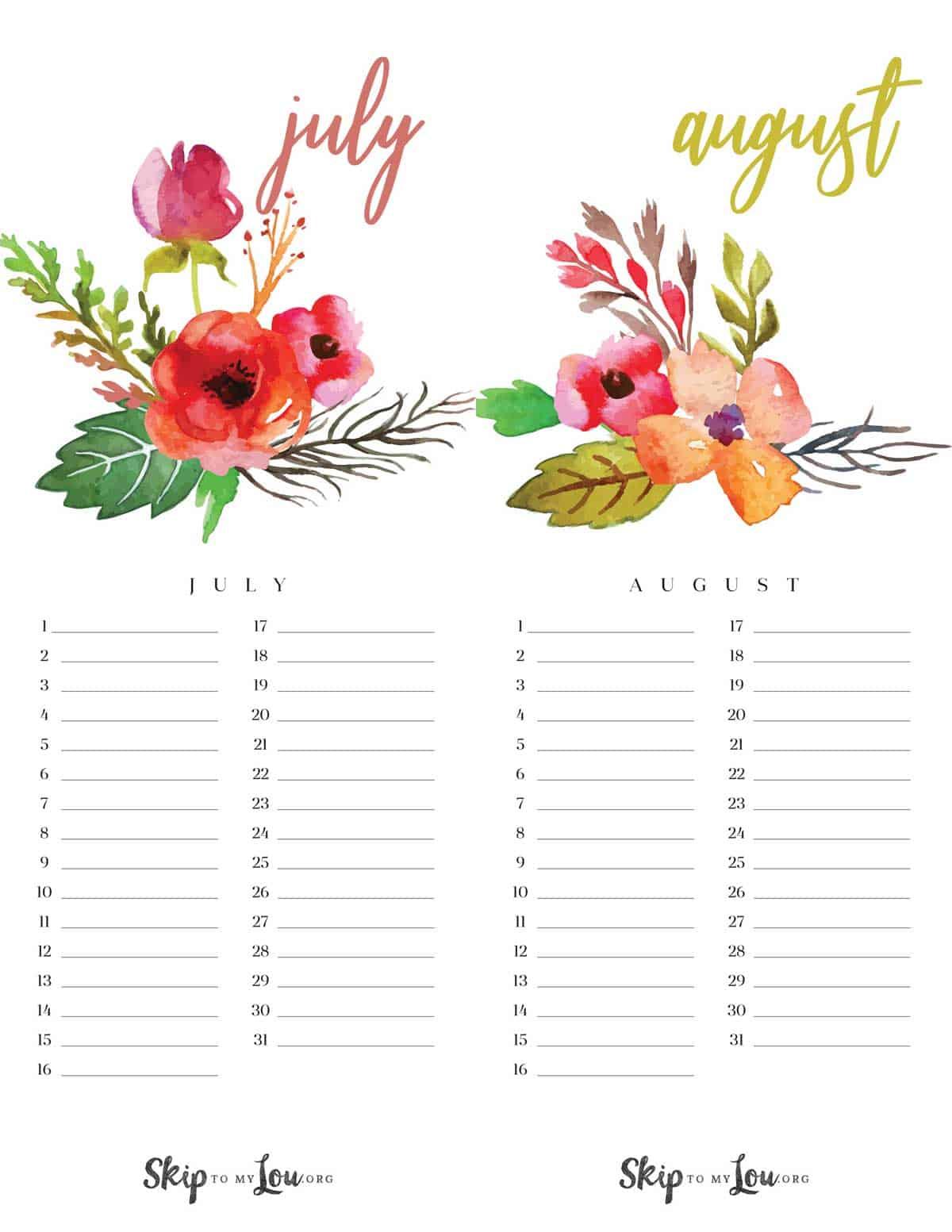 Beautiful Printable Calendar Free Download Updated