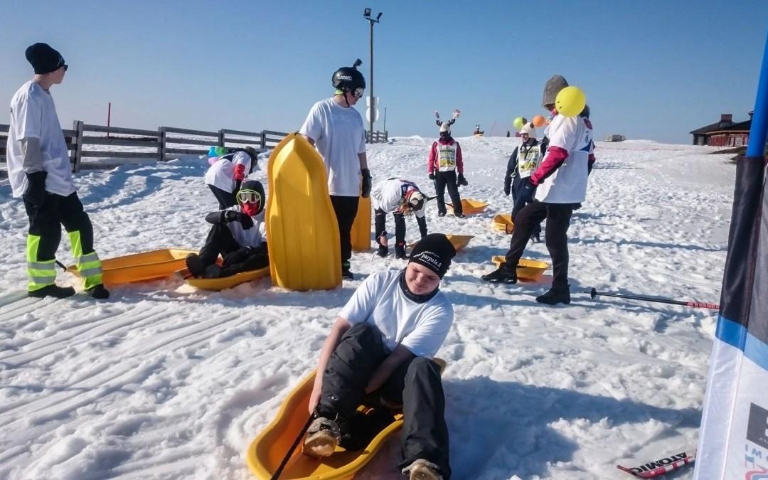 Tobogganing at Saariselkä- longest toboggan slope in Finland