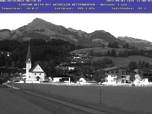 WEBkamera Reith bei Kitzbuhel - pohled od lyžařského areálu