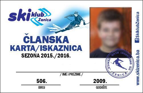 Ski klub Zenica clanska karta-iskaznica