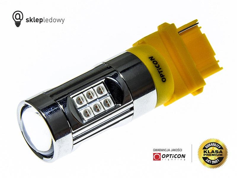 Żarówka Led P27W 3156 30W 30x SMD3030 12V Pomarańczowy OPTICON PREMIUM www.sklepledowy.pl