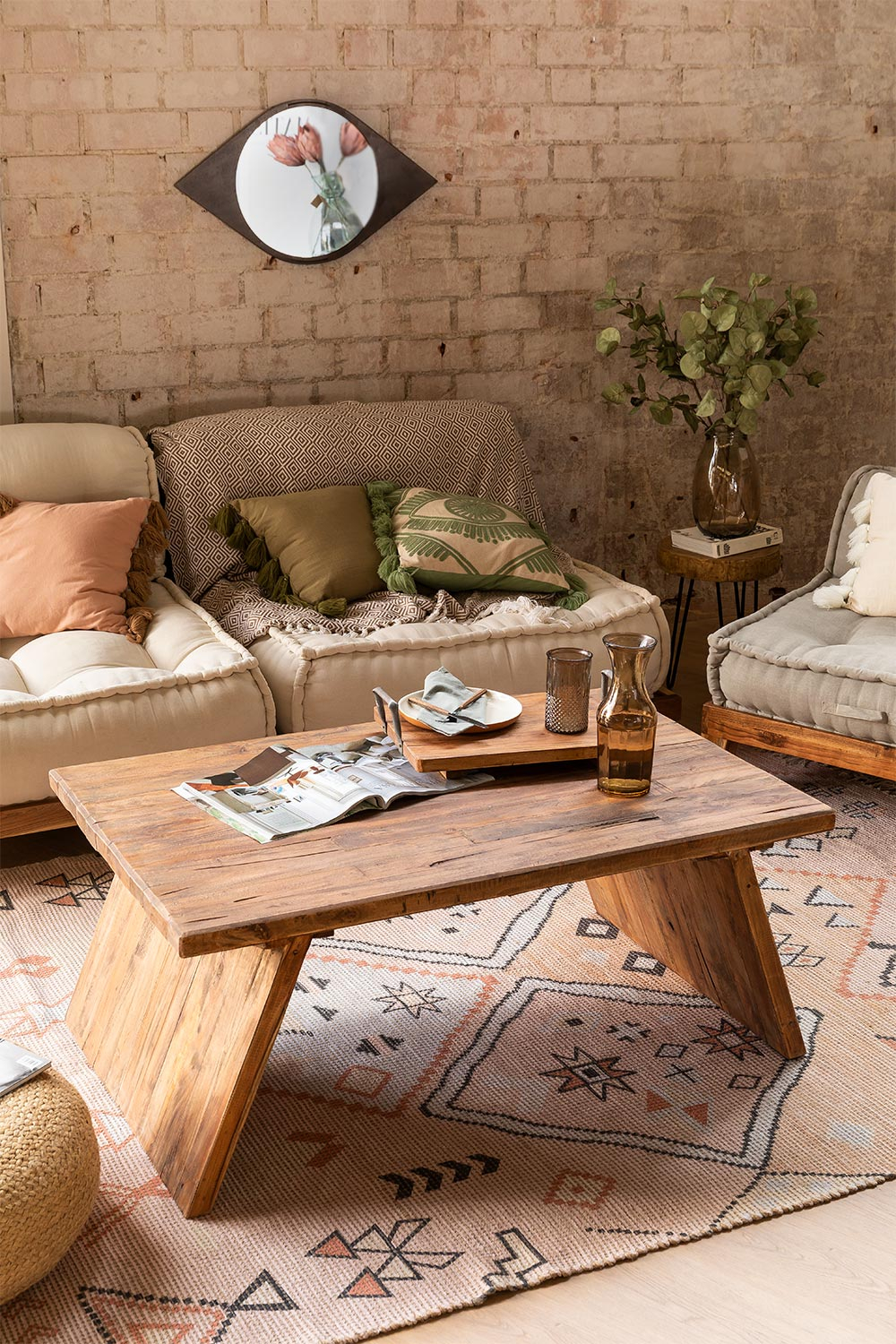 caffie recycled wood coffee table