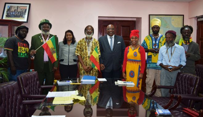 Some Members of the Rastafarian Community with Prime MInister Harris