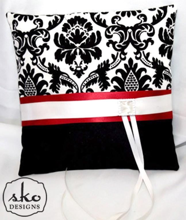 Black & Cream Damask with Black Satin Ring Pillow