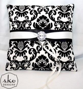 Ivory & Black Damask Ring Pillow