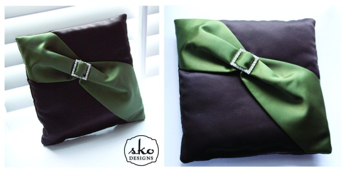 Chocolate Brown & Olive Satin Ring Pillow