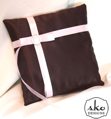 Chocolate Brown Satin Ring Pillow with Pale Pink Bands