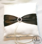 Ivory Satin Ring Pillow with Chocolate Brown Satin Sash & Rhinestone Buckle