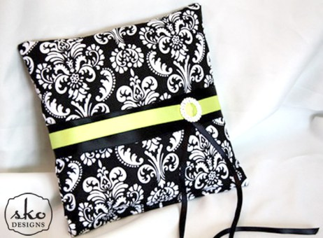 Black & White Damask Cotton Pillow with Lime Green