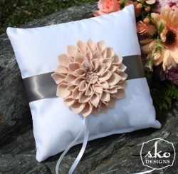 White Satin Ring Pillow with Steel Grey Band & Floral Brooch