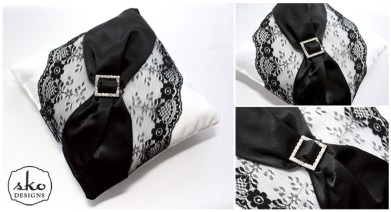 White Satin Ring Pillow with Black Lace & Black Satin Sash