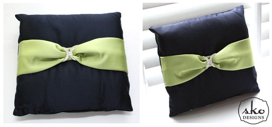 Navy & Lime Satin Ring Pillow with Rhinestone Buckle