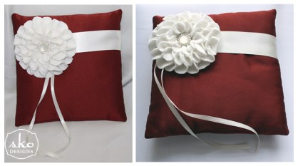 Rust Matte Satin Pillow with Ivory Band & Floral Brooch