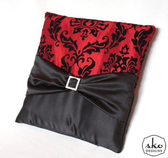 Red & Black Damask Taffeta Ring Pillow with Black Satin Sash