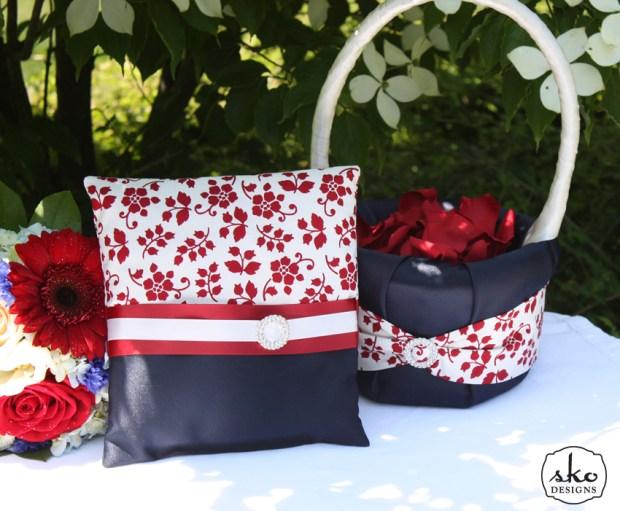 Red, White & Blue Ring PIllow & Flower Girl Basket