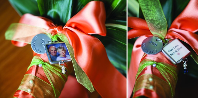 The photo bouquet charm was a way to honor the grandparents as it was their anniversary. Photo by Shoreshotz Weddings.